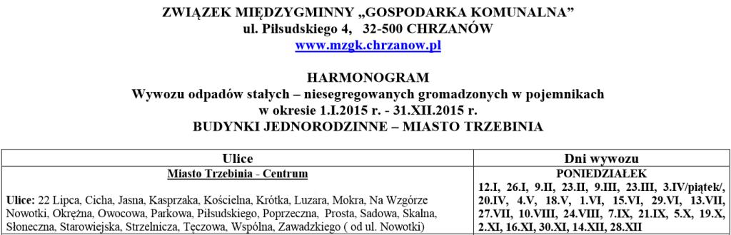 Harmonogram wywozu odpadów w 2015r. 1
