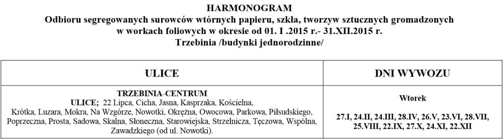 Harmonogram wywozu odpadów w 2015r. 2